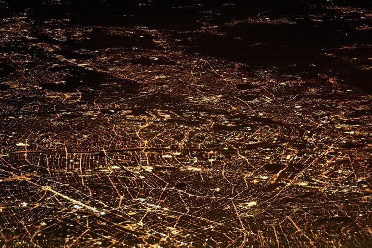 aerial view of city at nighttime