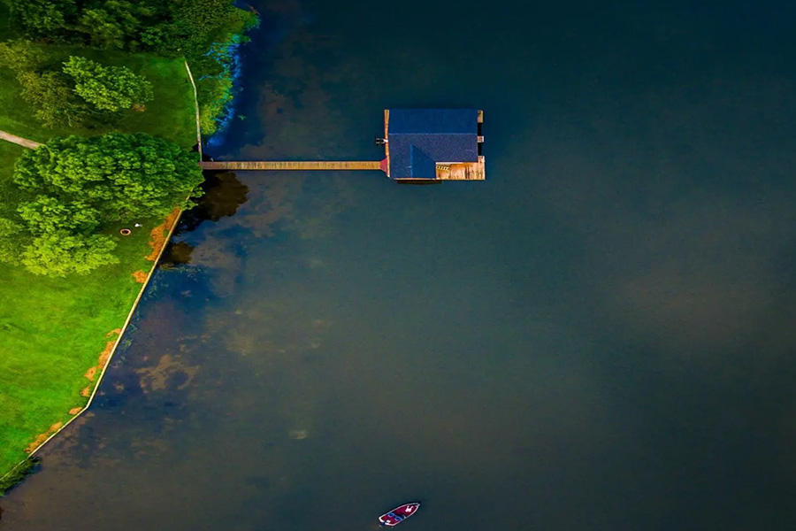 lakehouse dock aerial view