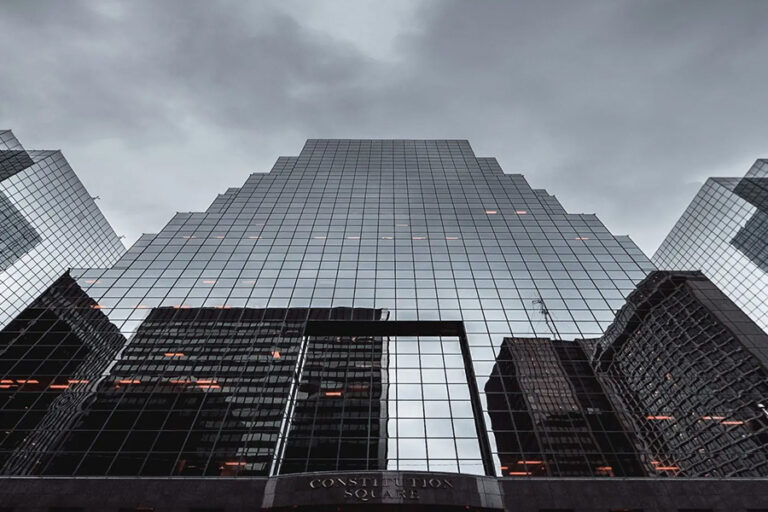 modern building before storm