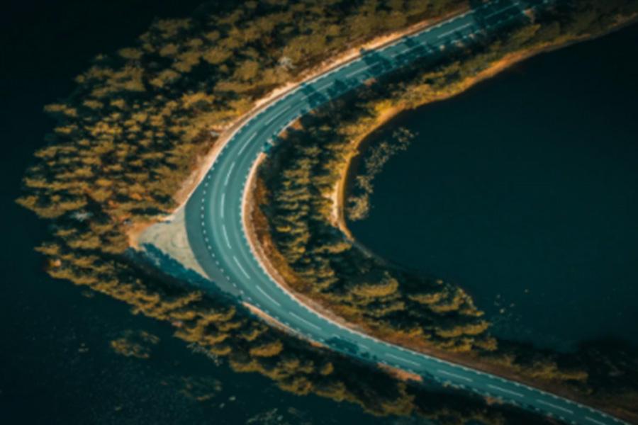 curved highway through coastline