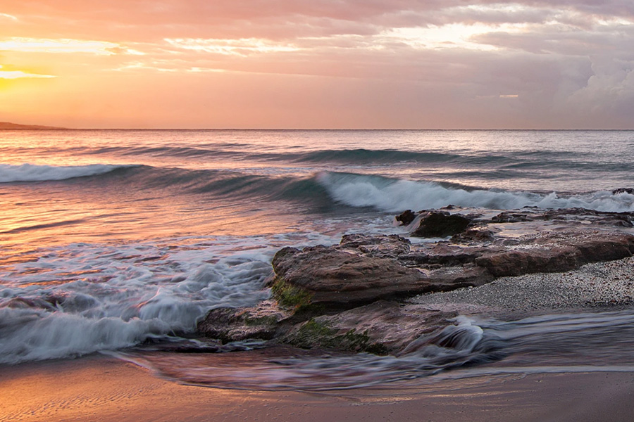 shoreline tide with waves