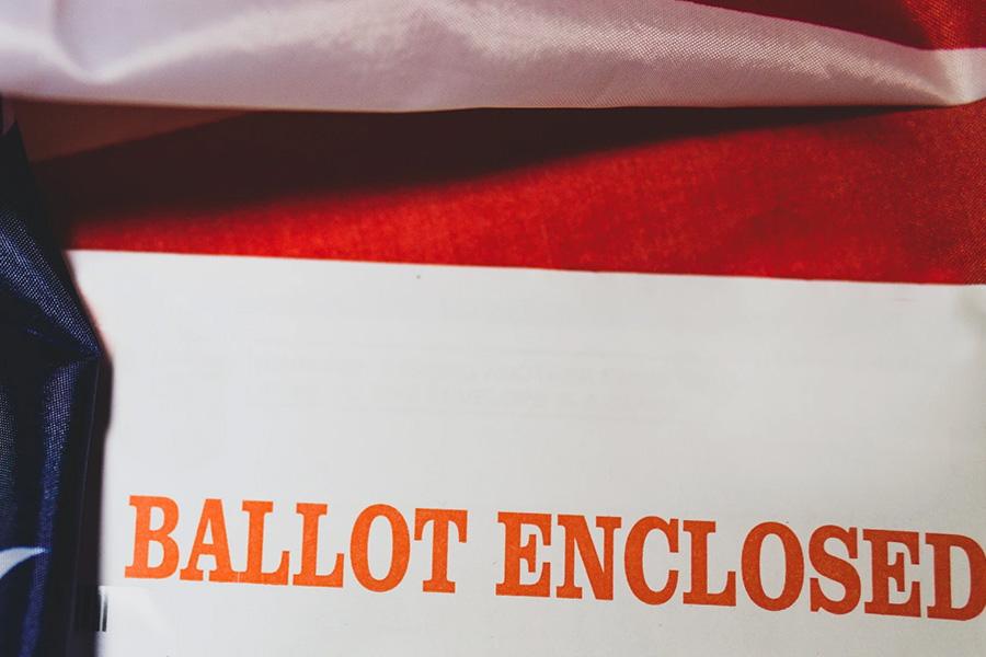 "envelope reading ""ballot enclosed"""