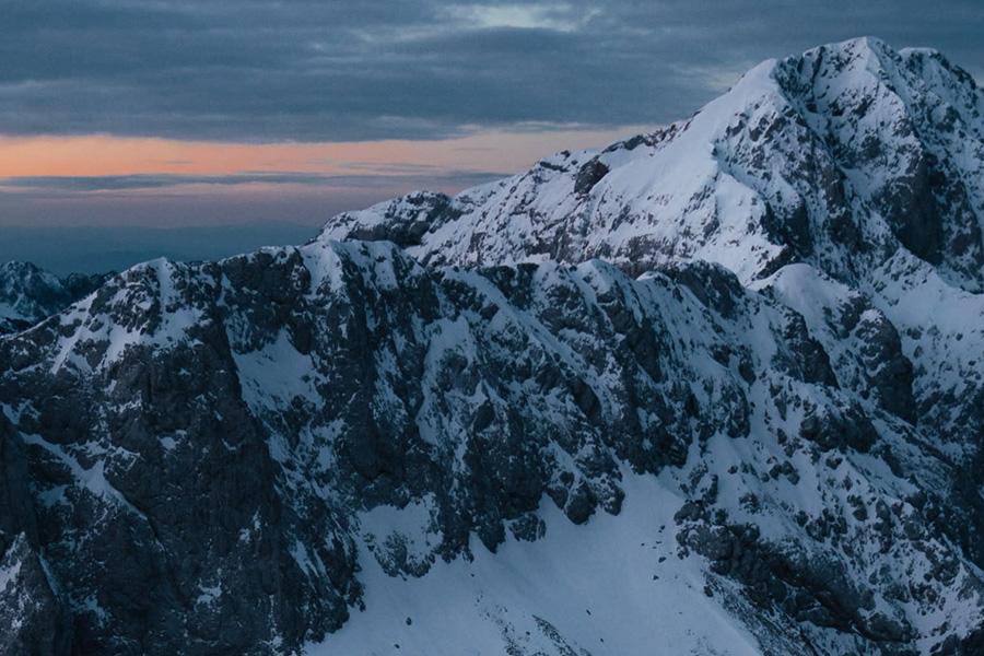 snowy mountain ridge