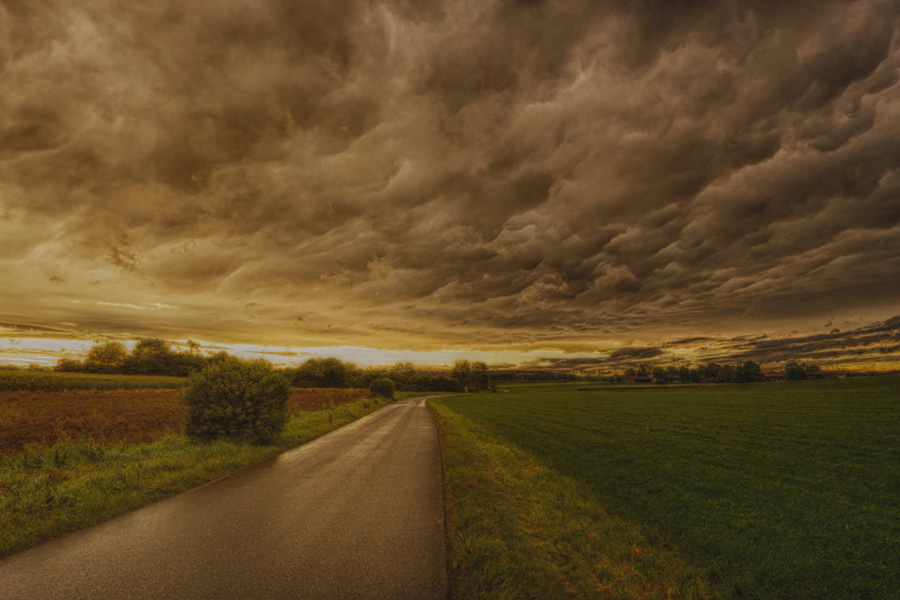 country road before a storm