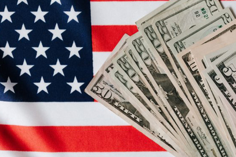 cash with american flag background