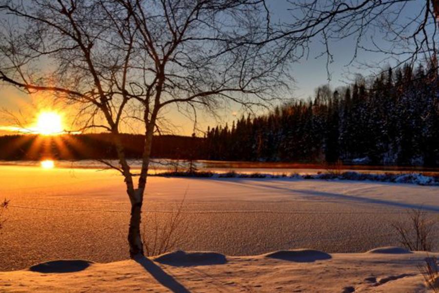 frozen lake at dawn