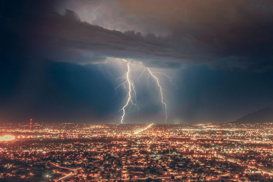 lightening strikes lit up city
