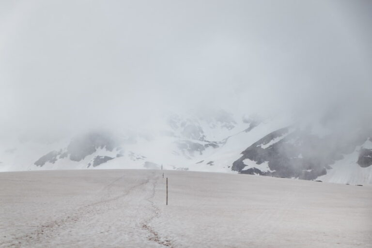 mountain with snow ahead