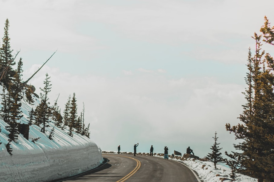 road with snow mountain
