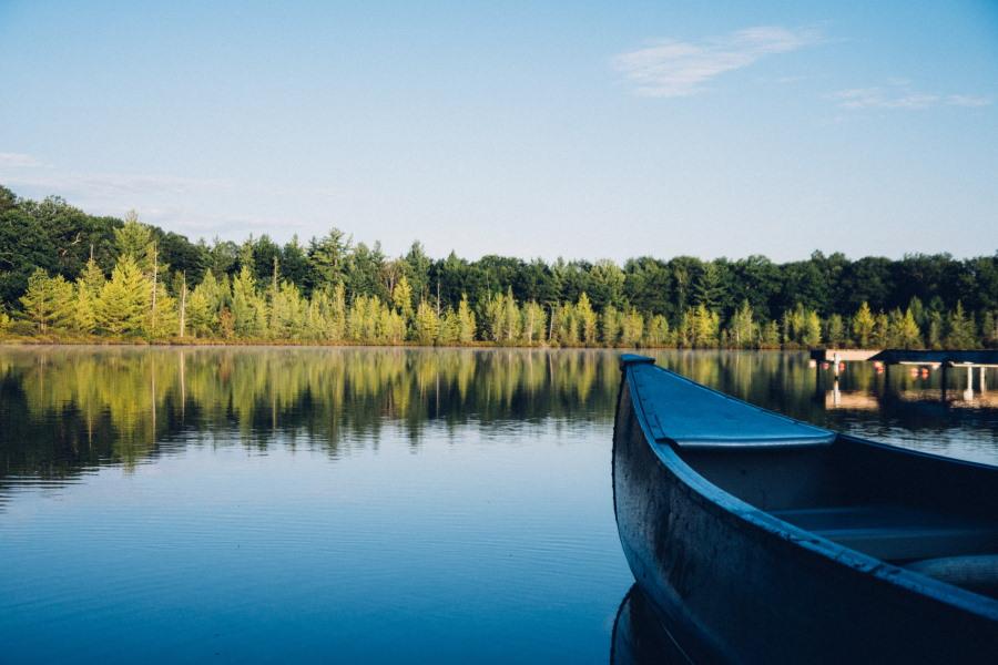lake with canoe