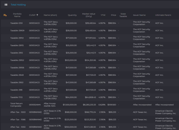 IMTC's platform showing total holdings screen