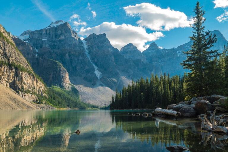 mountains over lake