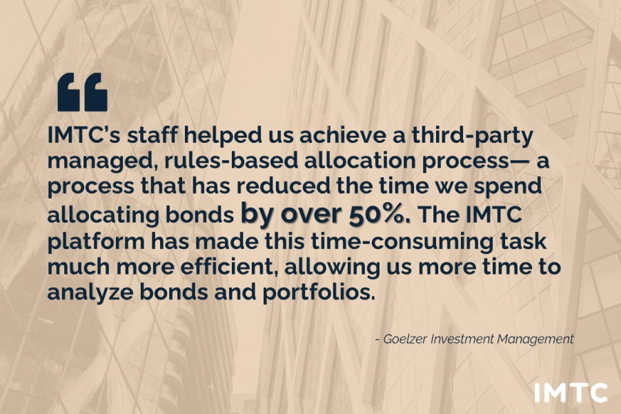 Quote from client on saving 50% of time to allocate bonds